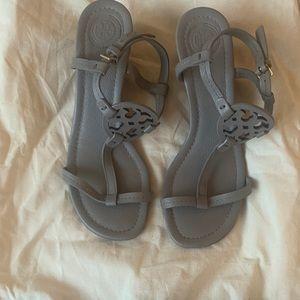 Tory Burch Miller 60mm Wedge Sandals Gray
